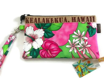 MTO. Custom Summer Wristlet with Aloha Fabric of your Preference. Repurposed Coffee Bag. Kealakekua, Hawaii. Handmade in Hawaii.