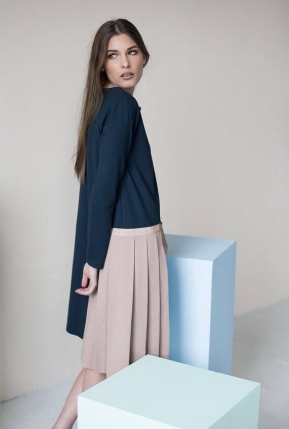 Long sleeve dress | Navy dress | Extravagant dress | LeMuse long sleeve dress