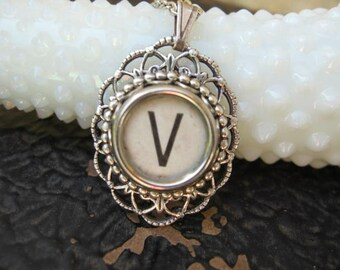 Typewriter Key Letter V - Oval Pendant with necklace