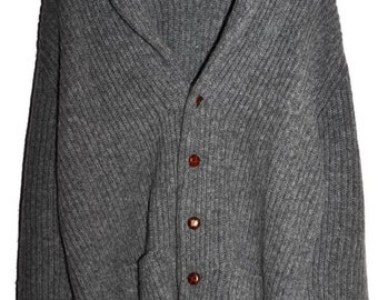 Vintage PRINGLE of SCOTLAND 100% WOOL Shawl Collar Thick Chunky Ribbed Cardigan Mens Large L Very Rare
