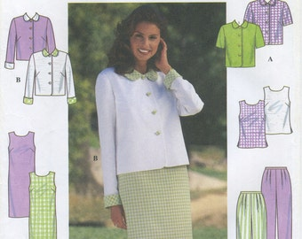 Summer Jacket, Sleeveless Dress or Top, Short Sleeve Round Collar Blouse, Pull On Pants Sewing Pattern Size 10 12 14 Simplicity 7971, UNCUT