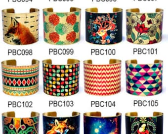 Last-Clearance Sale - New Technology - ALL Design Bracelet - Large Size - Handmade Photo Brass Cuff Bracelet (PP02) (PBC073--PBC130)