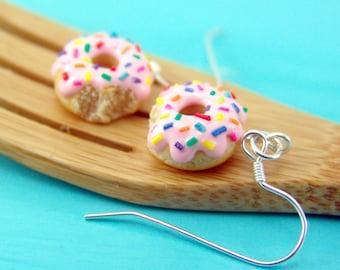 Donut Earrings with Rainbow Sprinkles // MADE TO ORDER // Dangly Earrings // Mini Donuts Food Earrings
