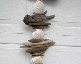 Driftwood Mobile With White Shells and Decorative Rusted Disc-DC1170
