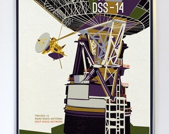 Mars Radio Antenna - Deep Space Network, Science Poster Art Print Original Illustration - Science Poster Print - Stellar Science Series