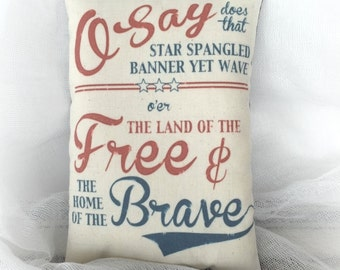 Star Spangled Banner pillow | Patriotic decor | Primitive Americana decoration | Red white blue decor
