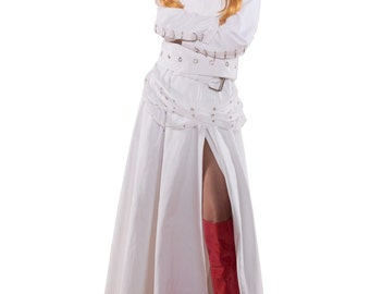 Mad Scientist White Lab Coat with Bondage Straps Fetish Cosplay Steampunk Steam Punk Couture Unique Halloween Costume Dress Womens Adult
