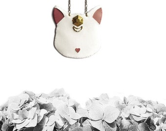 White Cat necklace, Artemis Cat necklace, animal jewelry, cat jewelry