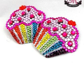 Rainbow Cupcake Rhinestone Nipple Pasties - SugarKitty Couture