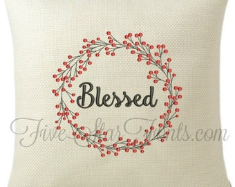 Berry Twig Wreath Frame 5 Sizes Machine Embroidery Font Frame