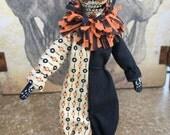 OOAK Day of the dead mini posable art doll dia de los muertos halloween clown sugar skull skeleton creme black orange jack-o-lantern bat