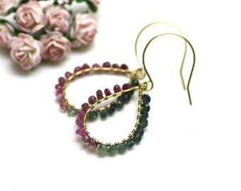 Watermelon Tourmaline Chandelier Earrings in Gold | Gradient of Pink and Green Wire Wrapped Gemstones | Yasmin Earrings by Azki