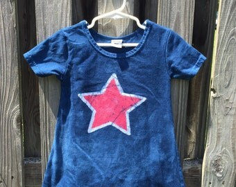 Patriotic Girls Dress (2T), Toddler Patriotic Dress, Red Star Dress, Red White and Blue Dress, Girls Fourth of July Dress, July 4th Dress