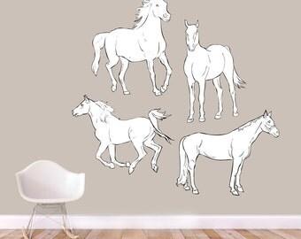 Vintage Horses - Nursery Kid's Room Playroom Classroom Printed Wall Decal