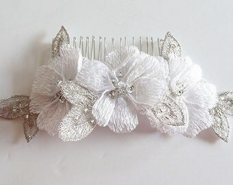 Wedding Comb White Floral Lace Bridal Comb with Silver, Bridal Hair Acccessories