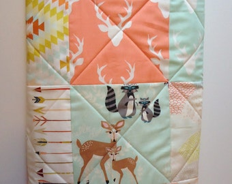 Baby Quilts for Girls-Baby Quilt-Modern Hello Bear-Woodland and Aztec-Baby Blanket Art Gallery Fabric-Mint and Coral Arrows