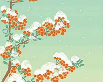 Japanese Tenugui Fabric, Snowy Mountain, Red Fruits, Bird, Emerald Blue Fabric, Hand Dyed Fabric, Winter Wall Art Hanging, Home Decor, h247