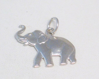 Sterling silver 2-D traditional vintage elephant trunk up good luck lucky wildlife animal pet theme bracelet charm / necklace pendant
