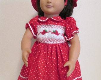 "Doll Dress and Hat, 18"" Doll, Hand-Smocked - Red with White trim WITH BONUS!"