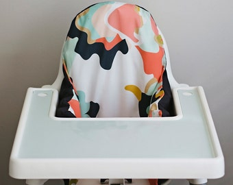IKEA Antilop Highchair Cover // Coral Jubilee // High Chair Cover for the PYTTIG Cushion // Pillow Slipcover