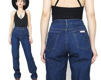 Calvin Klein Jeans Dark Wash Jeans  70s 80s Vintage High Waisted Jeans Straight Leg Jeans Dark Blue Jeans Designer Womens Jeans (XS)