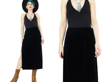 90s Black Velvet Skirt High Waisted Velvet Maxi Skirt Minimalist Black Skirt Vintage Velvet Skirt Side Leg Slits Elastic High Waist (M)