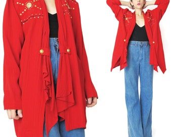 1980s Draped Blazer Womens Slouchy Red Jacket Open Front Blazer Gold Bedazzled Jacket Rayon Slouchy Oversized Summer Layering Cardigan (L)