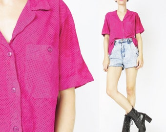 Vintage Suede Leather Shirt 80s Perforated Soft Leather Blouse Fuschia Hot Pink Shirt Short Sleeve Womens Slouchy Button Up Top (M)
