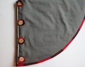 Christmas Tree Skirt -Handsome Charcoal Linen Skirt with Red Pendleton Wool Trim