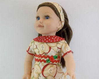 18 inch  Doll Dress Firs American Girl Doll Heritage 1930 s Style Beige Apple Red  Collar Hair Band