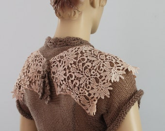Ready to ship Boho Chic French Beige  Hand Knit  Crochet   Shrug Bolero -  Summer  Fashion- Fall Wedding - Luxury - Size M - L