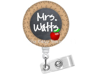Personalized Teacher Chalkboard with Apple - ID Badge Holder - Name Badge Holder - Teacher Badge - School Badge - Preschool Badge Holder