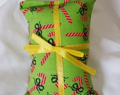 Catnip Pillow Present - candy canes on lime green with yellow ribbon