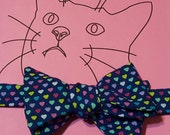 Cat Bow Tie - blue with multicolored tiny hearts