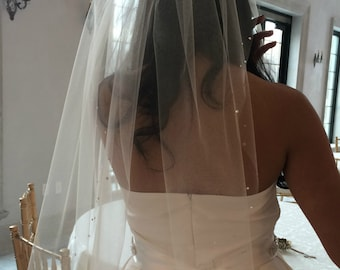 "Ivory Tulle Illusion Swarovski Crystal 29"" Veil Wedding Bridal"