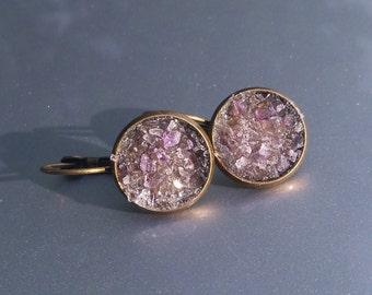 Amethyst Crater Earrings Lever Back Brass Earrings