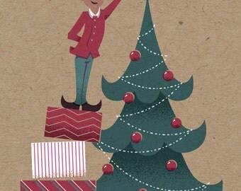 "Elf Holiday Print - 8"" x 10"" Art Print on 100# French Speckletone Kraft Cover, Vintage-Inspired"