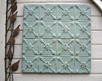 Antique Tin Ceiling Tile. FRAMED 2'x2'. Circa 1925. Ready to Hang. Architectural salvage. Aqua metal wall decor art. Metal tile.