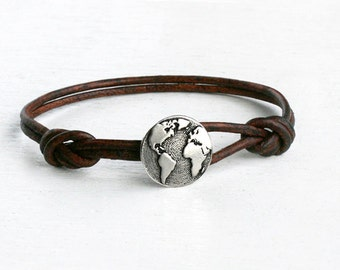 Globe leather Bracelet, World Map Bracelet, Globe Anklet, World Map Anklet (Many Colors)