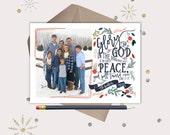 Christian Christmas Cards · Vintage Floral Luke 2:14 Bible Verse · printable files · red & navy blue flowers