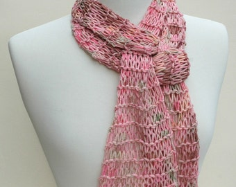 Raw Silk Scarf- Hand Knit/ Rose/ Mauve/ Apricot/ Pale Green/ Cream
