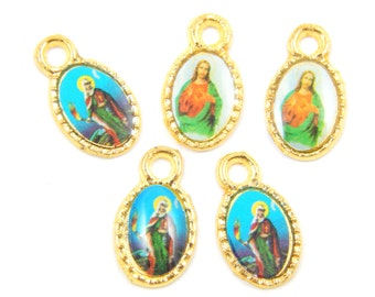 Catholic Medal Lot - Sacred Heart of Jesus - Virgin Mary Religious Charms - Christian Charm Lot of 6 - Rosary Charms - R66