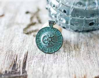 Zodiac Signs Necklace. Astrology Necklace. Moon and Sun Necklace. Green Patina Necklace.