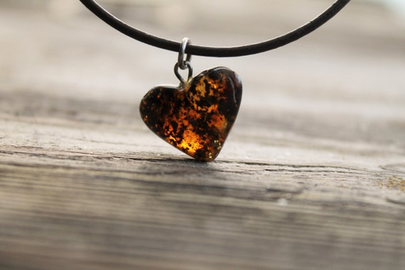 Rustic Amber Heart Necklace Hand Sculpted Pendant Yellow Orange Butterscotch Amber Charm Romantic Natural Mother's day Gift
