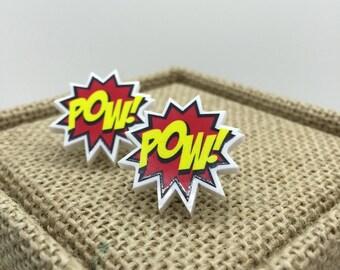 POW! Comic Book Stud Earrings- Sound Effect Earrings