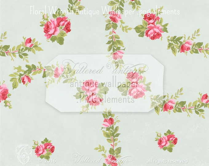 Roses FloRaL Wreath PNG CliP ArT  Instant download