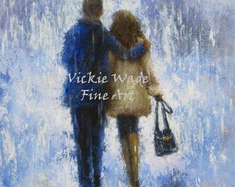 Lovers Rain Art Print, loving couple, walking in rain, blue, tan, couple in rain, anniversary gift, wall art,  Vickie Wade Art