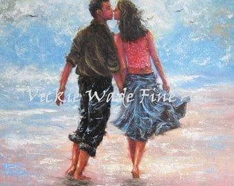 Beach Lovers Art Print, couple kissing, walking on beach, man, woman, oil painting, anniversary gift, young lovers paintings, Vickie Wade