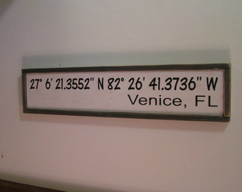 GPS Address Sign | GPS coordinates | Subway style sign | Hand Painted Hanging Wood Sign