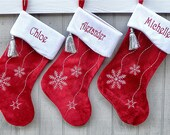 Personalized Christmas Stockings Snowflake Bling Red White Silver